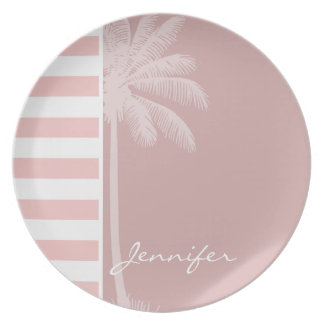 Baby Pink Stripes; Palm Plates