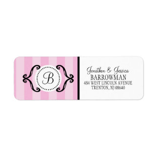 Baby Pink Sweet Charming Striped Personalized Label