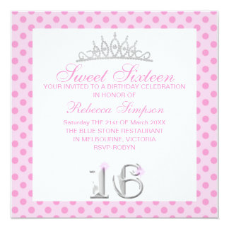 Baby Pink Sweet Sixteen Tiara Birthday Invitation