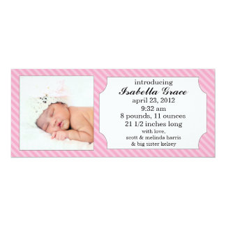 Baby Pink Sweet Stripes Photo Birth Announcements