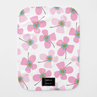 Baby Pink Sweet Whimsical Daisies Girl Burp Cloth