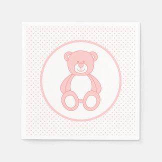 Baby Pink Teddy Bear Paper Napkins Standard Cocktail Napkin