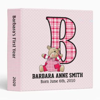 Baby Pink Teddy Bear with Letter B 3 Ring Binder