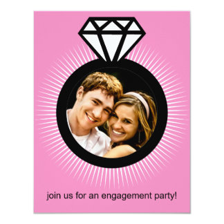 Baby Pink The Ring Photo Engagement Party 4.25x5.5 Paper Invitation Card