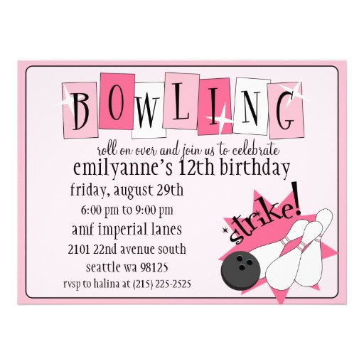 Baby Pink Totally Retro Bowling Birthday Party Invites