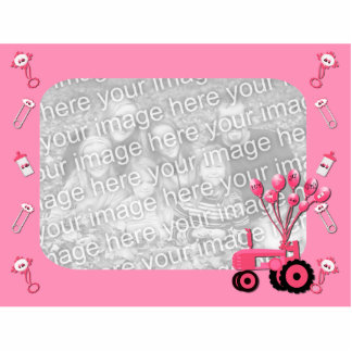 Baby Pink Tractor with Balloons Photo Sculpture