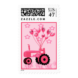 Baby Pink Tractor with Balloons Postage