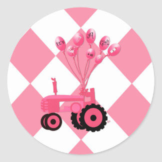 Baby Pink Tractor with Balloons Stickers