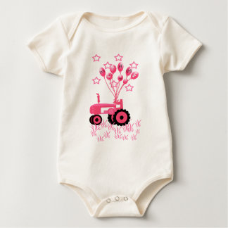 Baby Pink Tractor with Balloons T-Shirt