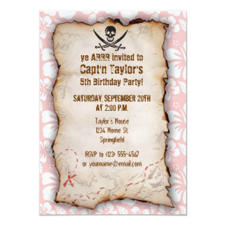 """Baby Pink Tropical Hibiscus Jolly Roger 4.5"""" X 6.25"""" Invitation Card"""