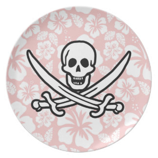 Baby Pink Tropical Hibiscus Jolly Roger Plate