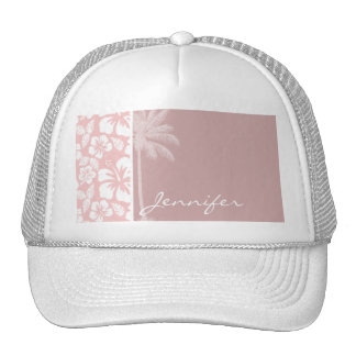 Baby Pink Tropical Hibiscus; Palm Trucker Hats