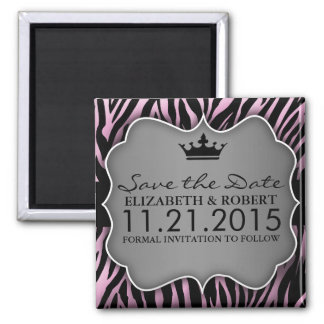 Baby Pink Untamed Zebra Print Save the Date 2 Inch Square Magnet