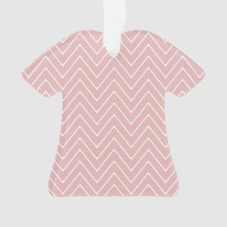Baby Pink White Chevron Pattern 2A Ornament