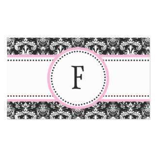 Baby Pink & White Classic Damask Mommy Calling / Business Card