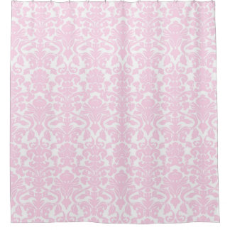 Baby Pink White Floral Damask Shower Curtain