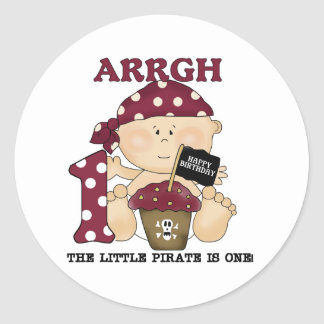 Baby Pirate 1st Birthday Tshirts and Gifts Classic Round Sticker