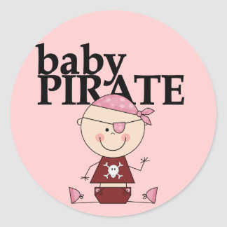 Baby Pirate - Girl Tshirts and Gifts Round Stickers