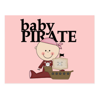 Baby Pirate Girl With Ship Tshirts and Gifts Postcard
