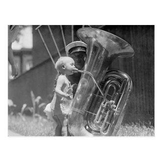 Baby Playing Tuba, 1923 Postcard