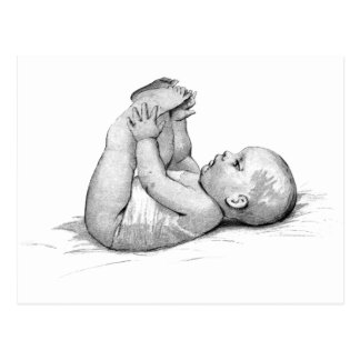 Baby Plays With Feet Sweetest Little Baby Postcard