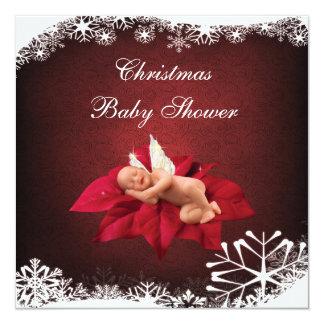 Baby & Poinsettia Elegant Christmas Baby Shower Announcement