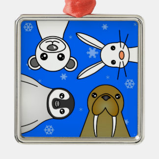 Baby Polar Animals Blue Snowflake Metal Ornament