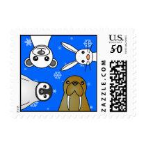 Baby Polar Animals Blue Snowflake Postage Stamp