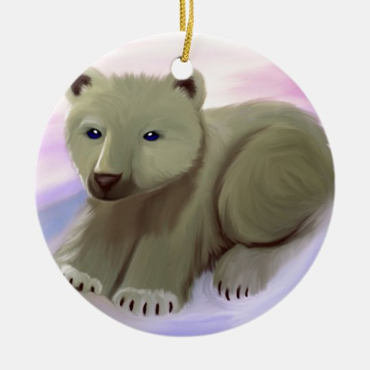 Baby Polar Bear Ceramic Ornament