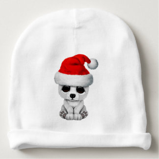 Baby Polar Bear Wearing a Santa Hat