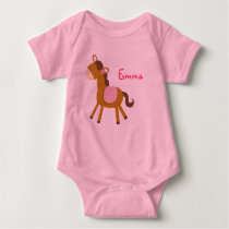 Baby Pony Horse Personalized Baby Creeper T-Shirt