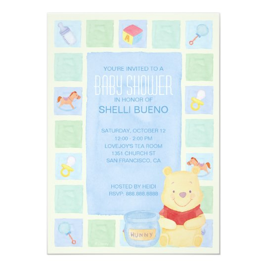 Baby Pooh and Hunny Baby Shower Card