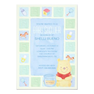 Baby Pooh and Hunny Baby Shower 5x7 Paper Invitation Card