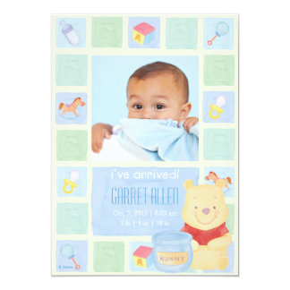 Baby Pooh and Hunny Birth Announcement Cards
