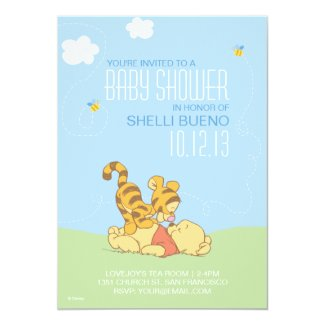 Baby Pooh and Tigger Baby Shower 5x7 Paper Invitation Card