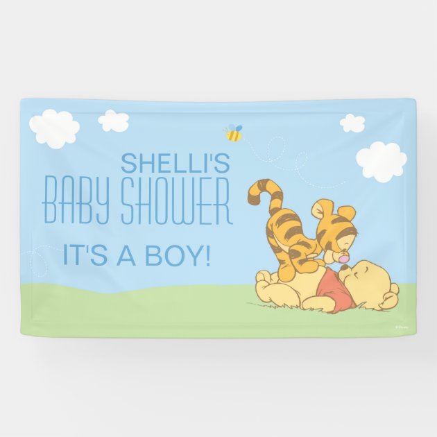 baby pooh and tigger baby shower banner | zazzle, Baby shower invitations