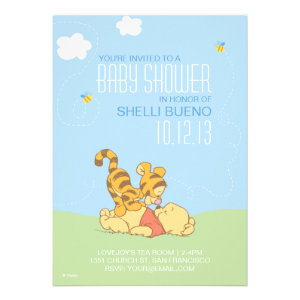 Baby Pooh and Tigger Baby Shower Custom Invite