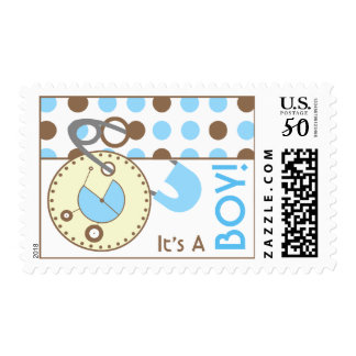Baby Postage - Blue Diaper Pin & Polka Dots