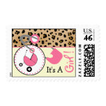 Baby Postage - Leopard Print & Pink Diaper Pin