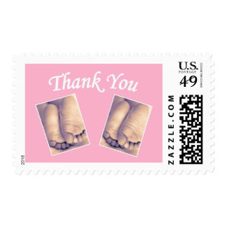 Baby postage stamps feet twins thank you pink