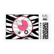 Baby Postage - Zebra Print / Hot Pink stamp