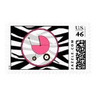 Baby Postage - Zebra Print / Hot Pink stamp