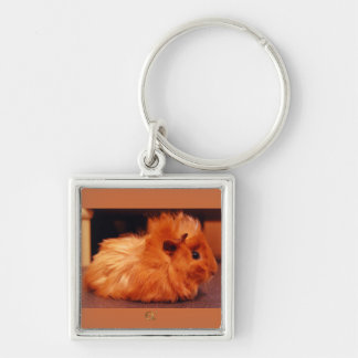 Baby Powder Puff - Guinea Pig Silver-Colored Square Keychain