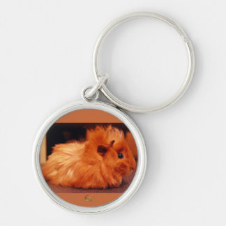 Baby Powder Puff - Guinea Pig Silver-Colored Round Keychain
