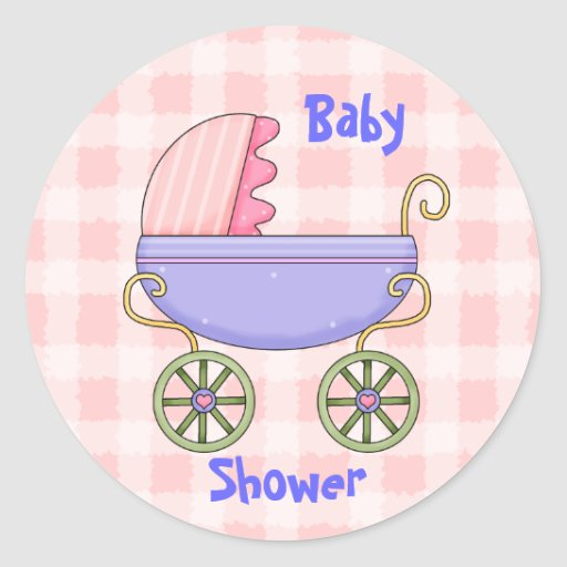 baby pram girl shower envelope seal classic round sticker zazzle