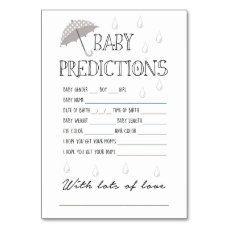 Baby Predictions Game for Baby Shower Card