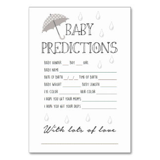 Superb Baby Predictions Game For Baby Shower Card