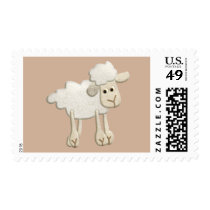 BABY PUFFY LAMB SHEEP TEXTILE ART CARTOON CUTE FAR POSTAGE