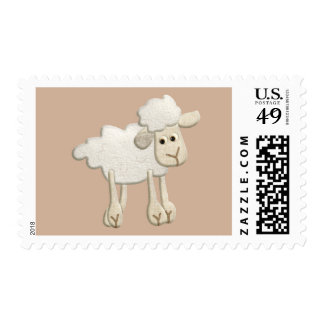 BABY PUFFY LAMB SHEEP TEXTILE ART CARTOON CUTE FAR POSTAGE STAMPS