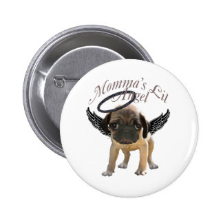 Baby Pug  Angel Button